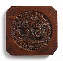 FINE AND RARE CARVED MAHOGANY 'WAR OF 1812' CAKE BOARD, NEW YORK STATE, CIRCA 1830 |