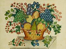 AMERICAN SCHOOL, 19TH CENTURY | Green and Red Grapes with Peach, Pear and Strawberries: Theorem Painting Still Life