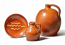 THREE PIECES OF REDWARE, 19TH CENTURY |