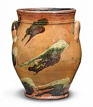 REDWARE TWO-HANDLED CROCK, ATTRIBUTED TO ROCHESTER POTTERY, ONTARIO COUNTY, NEW YORK, CIRCA 1820 |