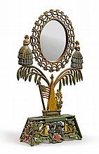 CAST-IRON POLYCHROME PAINT-DECORATED 'JENNY LIND' DRESSING GLASS, AMERICAN, CIRCA 1880  