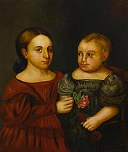 AMERICAN SCHOOL, 19TH CENTURY | Portrait of a Girl in a Red Dress Holding a Rose and a Boy in a Gray Dress