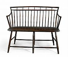 FINE BROWN-PAINTED WINDSOR BAMBOO-TURNED SETTEE, MASSACHUSETTS, CIRCA 1810 |