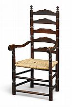 WILLIAM AND MARY BROWN-PAINTED MAPLE SLAT-BACK ARMCHAIR, NEW ENGLAND, CIRCA 1770 |