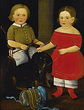 WILLIAM MATTHEW PRIOR (1806 - 1873) | Blond-Haired Boy Seated in a Child's Rocker Holding a Whip, Girl in Red Dress with Eyelet Pantaloons and Red Shoes with a Black Dachshund:  A Double Portrait