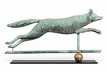 VERY FINE MOLDED COPPER FOX WEATHERVANE, L.W. CUSHING & SONS, WALTHAM, MASSACHUSETTS, CIRCA 1892 |