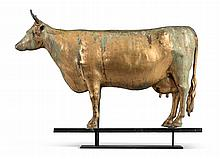 GILT MOLDED COPPER COW WEATHERVANE, CIRCA 1880 | Gilt Molded Copper Cow Weathervane