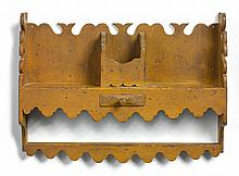 BROWN-PAINTED PINE HANGING SHELF, NEW ENGLAND, CIRCA 1825 |