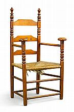 VERY RARE WILLIAM AND MARY MAPLE SLAT-BACK MUSHROOM POMMELED ARMCHAIR, NORWICH AREA, CONNECTICUT, CIRCA 1720 |