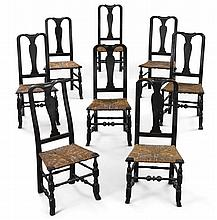 ASSEMBLED SET OF EIGHT QUEEN ANNE BLACK-PAINTED AND CARVED MAPLE SIDE CHAIRS, CONNECTICUT OR MASSACHUSETTS, CIRCA 1750 |