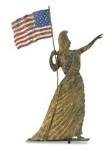 IMPORTANT GILT AND PAINTED MOLDED COPPER GODDESS OF LIBERTY WITH FLAG WEATHERVANE, POSSIBLY BY J.L. MOTT IRONWORKS, NEW YORK, CIRCA 1880 |