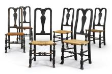 ASSEMBLED SET OF SIX QUEEN ANNE BLACK-PAINTED AND CARVED MAPLE SIDE CHAIRS, CONNECTICUT OR MASSACHUSETTS, CIRCA 1750 |