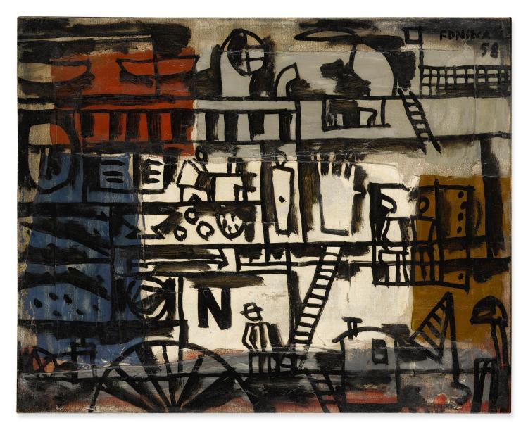 GONZALO FONSECA (1922-1997) | Puerto con grafismos