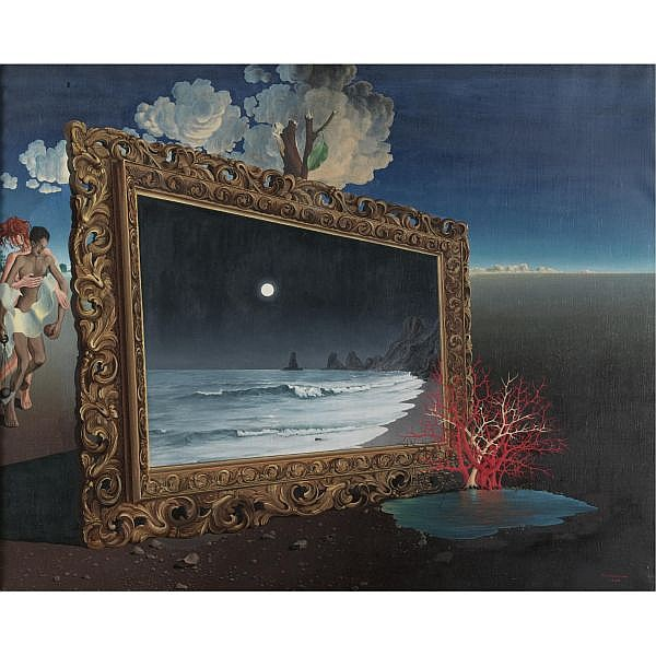 Léon Arthur Tutundjian 1906-1968 , Painting in a Surrealist Landscape oil on canvas