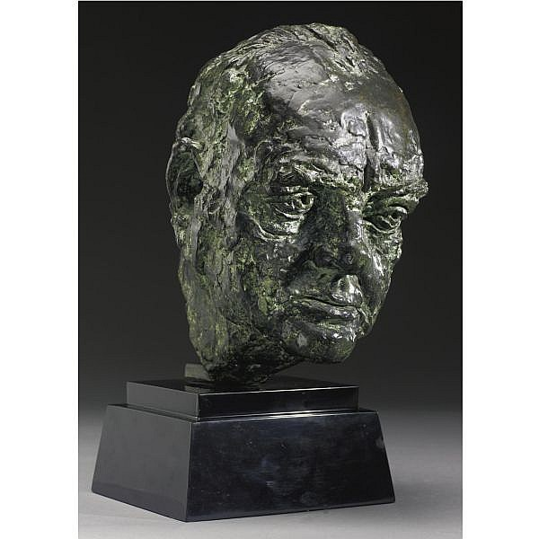 Sir Jacob Epstein 1880-1959 , Bust Of Winston Churchill bronze with mottled green over dark brown patina on a stepped black marble base