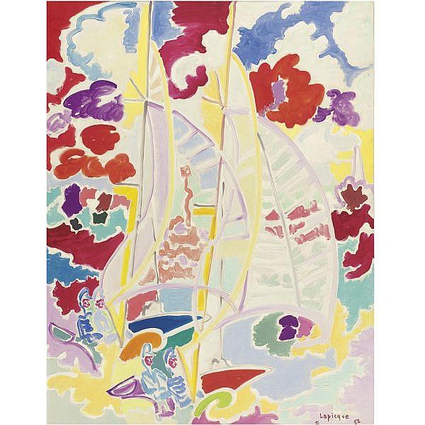 Charles Lapicque 1898-1988 , Régates Vent Arrière oil on canvas