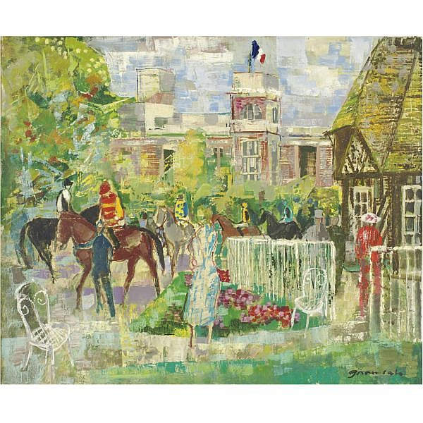 Emilio Grau Sala 1911-1975 , Paddock a Deauville oil on canvas