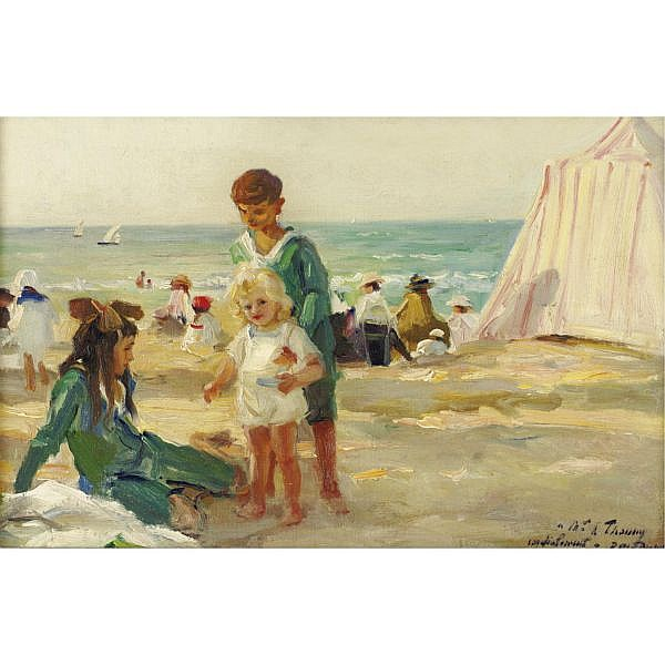 Paul Michel Dupuy 1869-1949 , On the Beach at Deauville oil on canvas