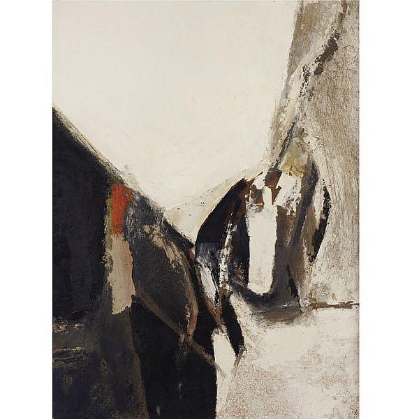 Sandra Blow , 1925-2006 Black & white composition oil and sand on masonite