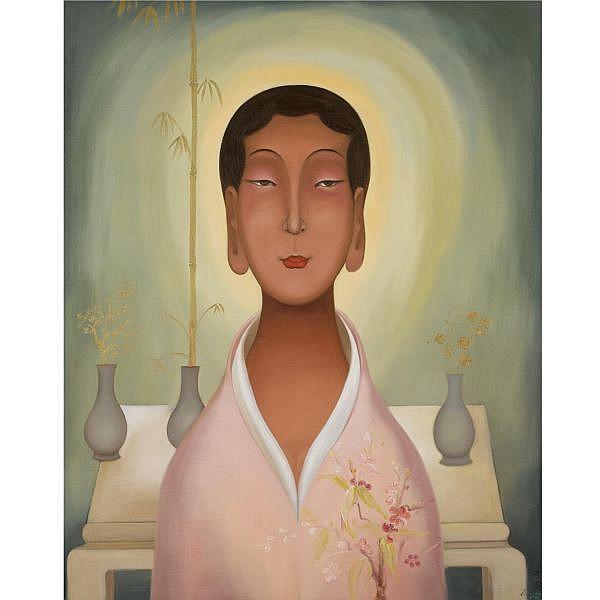 Li Shuang , B. 1957 Dancing Flowers oil on canvas