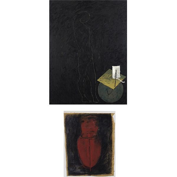 Giuseppe Gallo , b. 1954 Incantesimo and Untitled (Disegno): 2 works i) oil on canvas ii) pastel, charcoal and gouache on paper