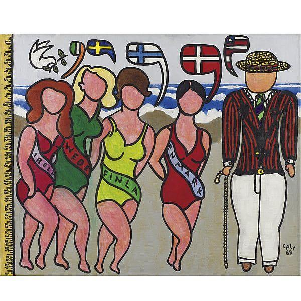 William Nelson Copley , 1919-1996 Bathing Beauties acrylic on canvas