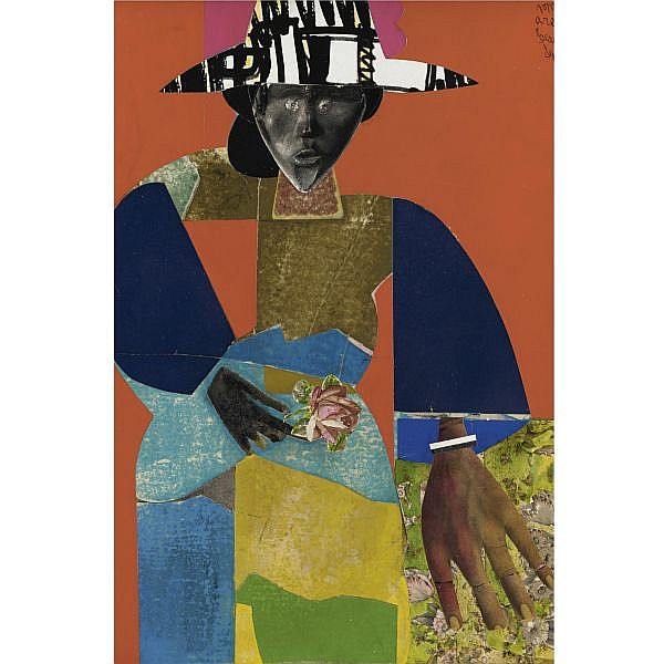 Romare Bearden , 1911-1988 The Flower Girl paper collage mounted on board