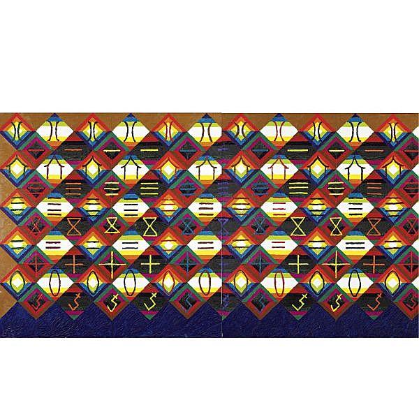 Alfred Jensen , 1903-1981 Au Debut du Printemps oil on canvas, in four panels