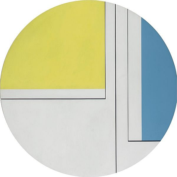 Ilya Bolotowsky , 1907-1981 Pale Yellow and Blue Tondo acrylic on canvas