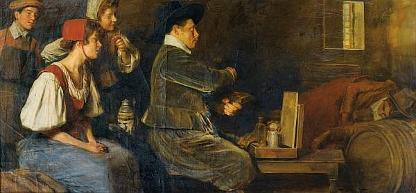 Roman Ribera-Cirera , Barcelone 1848 - 1935 Barcelone, Ecole espagnole Autoportrait de l'artiste en train de peindre Roman Ribera ; selfportrait of the artist in his studio ; signed lower right ; oil on canvas Huile sur toile