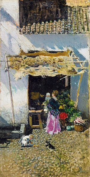 Mariano Fortuny y Marsal , Reus 1838 - 1874 Rome, Ecole espagnole Jeune femme à la jupe lilas, devant une échoppe de légumes Mariano Fortuny y Marsal ; young woman with lilac coloured skirt, by a vegetable shop ; signed lower right ; oil on panel,