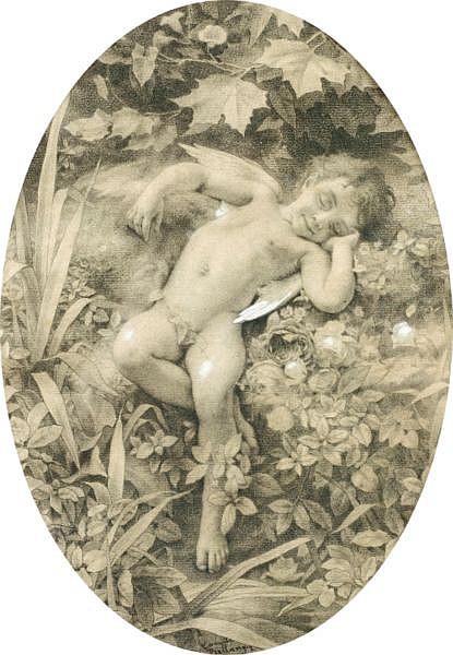 Camille-Félix Bellanger , Paris 1853 - 1923 Paris Le sommeil de l'amour Camille Bellanger ; the sleep of love ; Signed lower centre ; oval, pencil heightened with white chalk ; see illustration next page Voir l'illustration page suivante Crayon noir