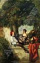 Célestin-François Nanteuil-Leboeuf dit Célestin Nanteuil , Rome 1813 - 1873 Marlotte   Conversation sous un arbre Célestin Nanteuil ; young couple under a tree ; signed lower center ; oil on canvas Huile sur toile     , Celestin Francois Nanteuil, Click for value