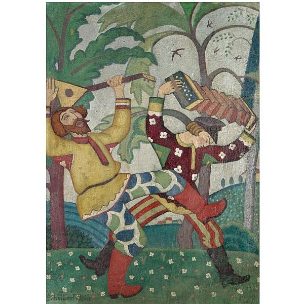 Ethelbert White , 1891-1972 a scene from the ballet russes oil on board