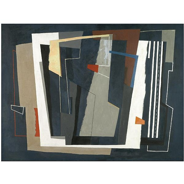 John Piper, C.H. , 1903-1992 forms on dark blue oil on canvas