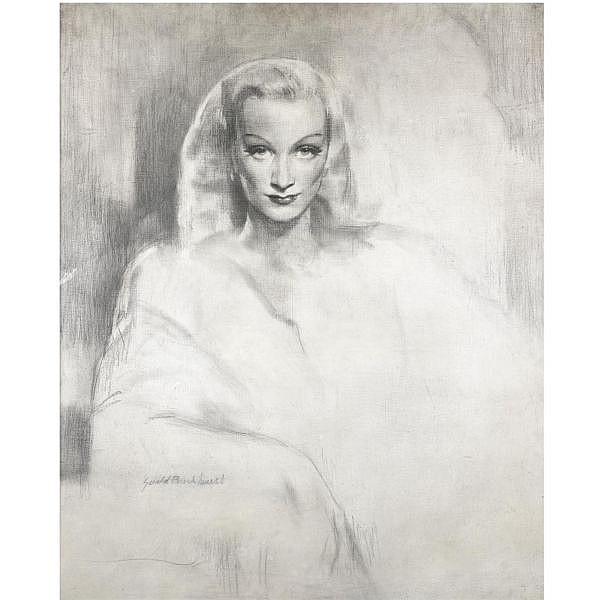 Gerald Leslie Brockhurst, R.A. , 1890-1978 Portrait of Marlene charcoal with white highlights on canvas