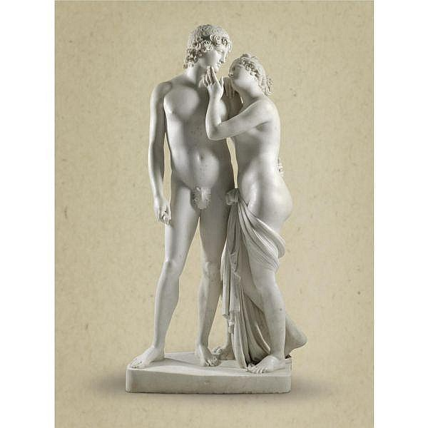 - Workshop of Antonio Canova (1757-1822) Italian, Rome, circa 1820 , Venus and Adonis white marble on a white marble base
