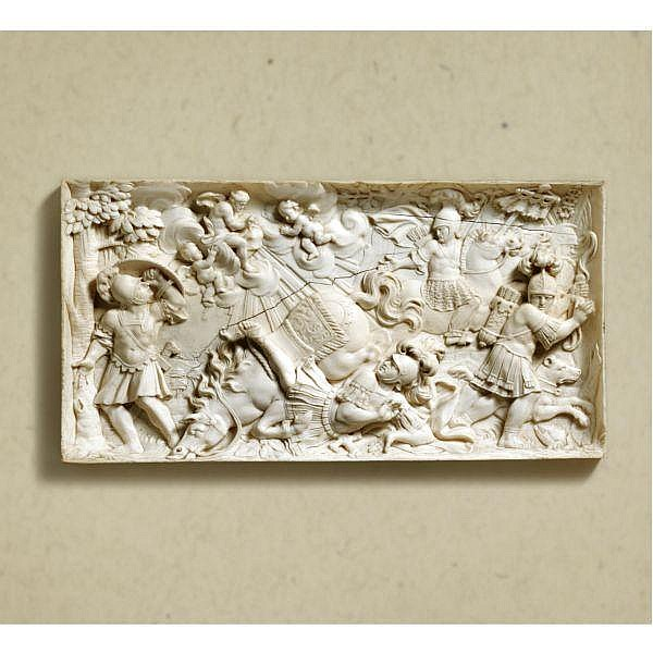 - Circle of Ignaz Elhafen (1658-1715)   Austrian, 18th century , relief of the Conversion of St. Paul ivory