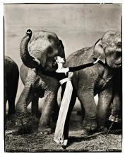 RICHARD AVEDON | Dovima with Elephants, Evening Dress by Dior, Cirque d'Hiver, Paris