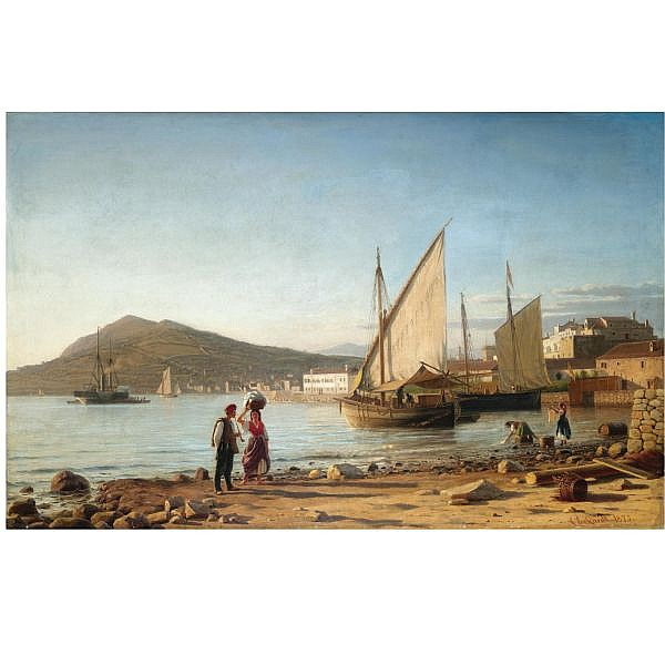 Christian Frederic Eckardt Danish, 1832-1914 , Morning in the Bay of Corfu oil on canvas