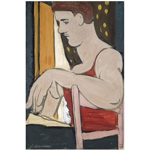 Diamantis Diamandopoulos Greek, 1914-1995 , Seated Man Drawing tempera on paper laid down on board