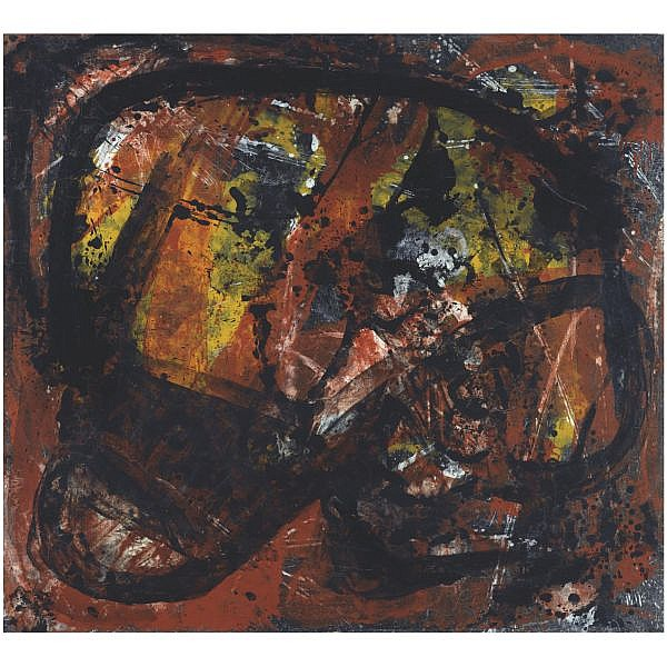 m - Vlassis Caniaris Greek, b. 1928 , The Marcinelle Catastrophe acrylic on canvas