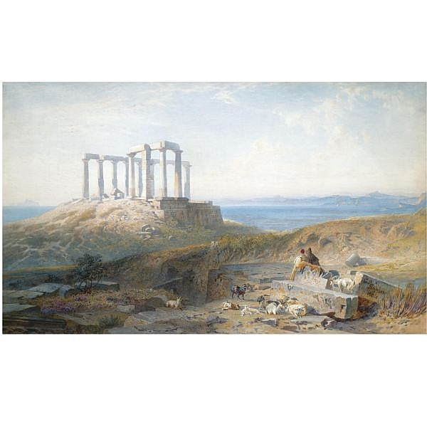 Harry John Johnson British, 1826-1884 , Sounion watercolour on paper