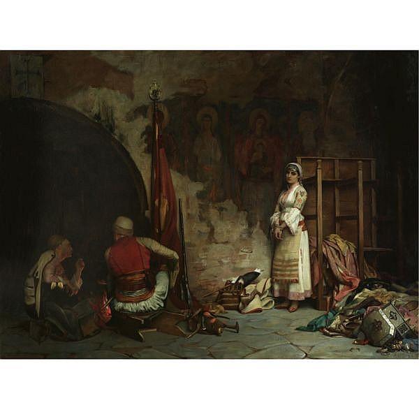 f - Theodoros Rallis Greek, 1852-1909 , The Captive (Turkish Plunder) oil on canvas