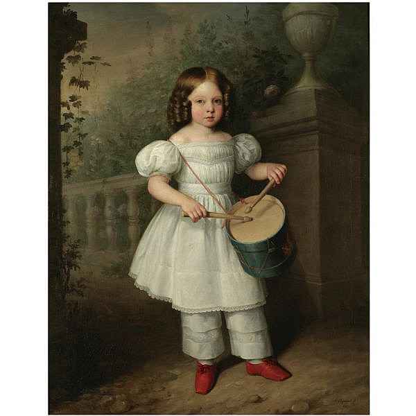 Antonio María Esquivel Seville 1806-Madrid 1857 , Niña Tocando el Tambor (Girl Playing a Drum) oil on canvas