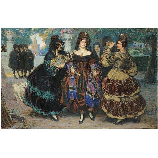 Gonzalo Bilbao Seville 1860-Madrid 1938 , Las Majas en el Parque (Women in the Park) oil on canvas