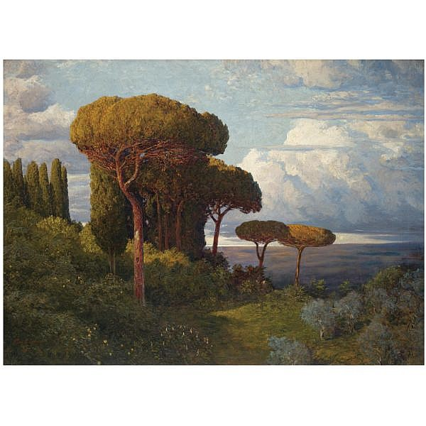 Max Roeder German, 1866-1947 , Pine Trees near Rome oil on canvas