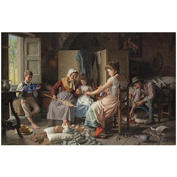 Giovanni Battista Torriglia Italian, 1858-1937 , The Thread of Life oil on canvas