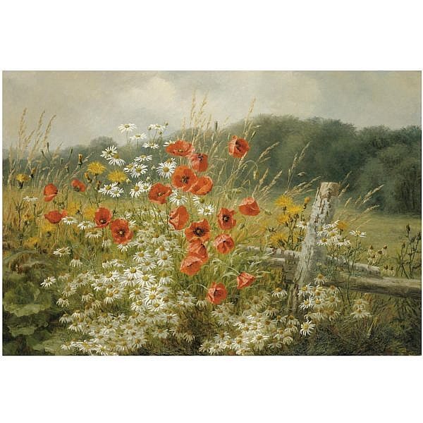 Anthonore Christensen Danish, 1849-1926 , Poppies and Daisies oil on canvas