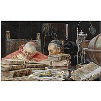f - José Gallegos Cádiz 1859-Rome 1917 , En la Bibloteca (In the Library) oil on panel
